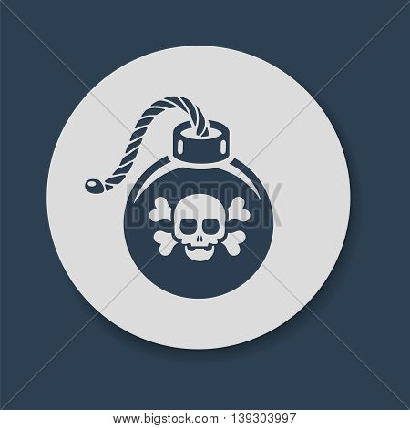 Flat bomb with skull and crossbones icon vector