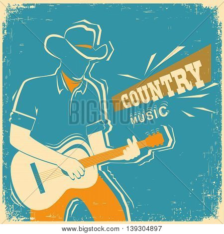 Country Music Festival With Musician Playing Guitar On Old Vintage Paper