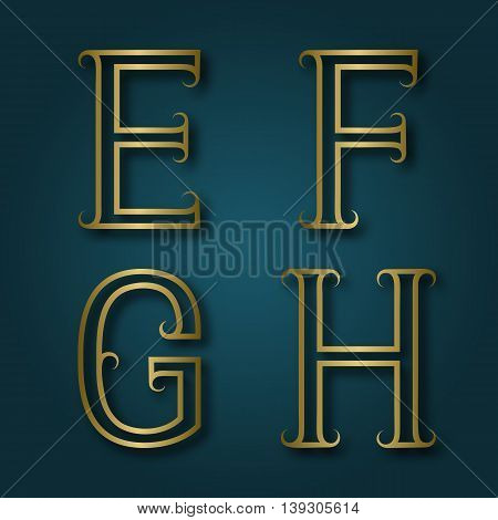 E F G H shiny golden letters with shadow. Outline font with flourishes. Type in art deco style.