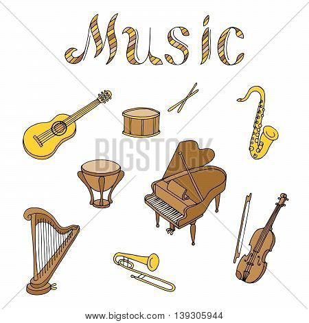 Music instrument set graphic art brown beige yellow color isolated illustration vector