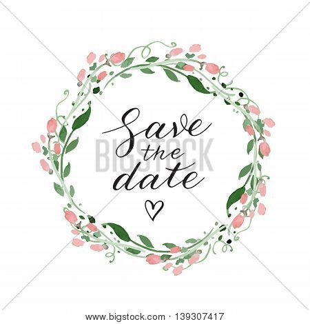 Save the date wedding invitation with watercolor wreath and calligraphy
