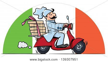 Funny pizza chef or baker rides a scooter or motobike with boxes of pizza, like courier or delivery boy. On the semicircle background in colors of Italian flag. Vector illustration. Cartoon