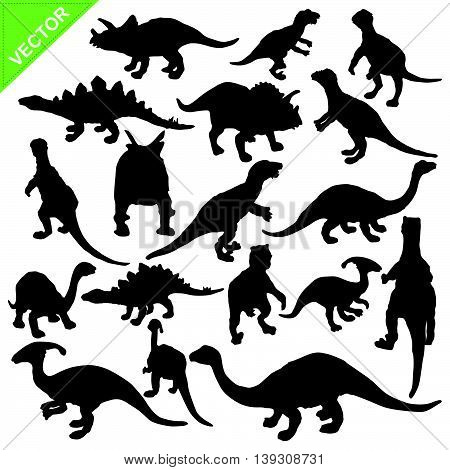 Dinosaur silhouette vector on white color background