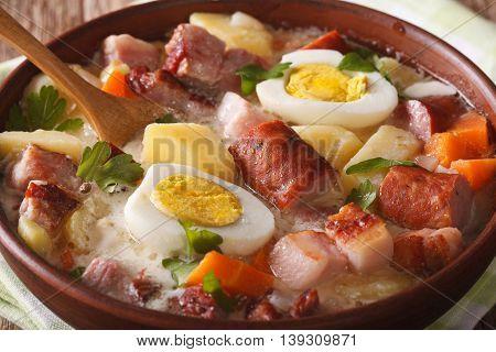 Traditional Polish Soup Zurek In A Bowl Macro. Horizontal