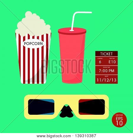 Set of Cinema popcorn and ticket on white color background