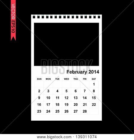 February 2014 calendar vector on black color background