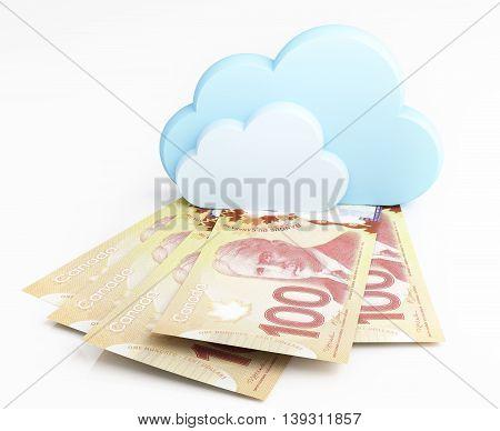 Canadian dollar banknotes under cloud. 3d rendering.