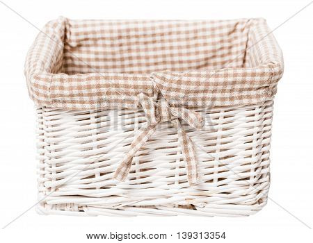 Old wicker basket isolated on white background
