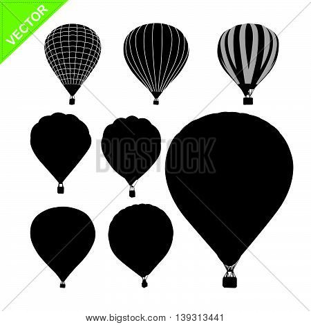 Hot air balloon silhouettes vector  on white color background