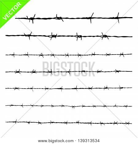 Barbed wire silhouettes vector  on white color background