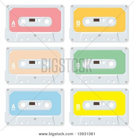 Audio cassettes isolated in different colors
