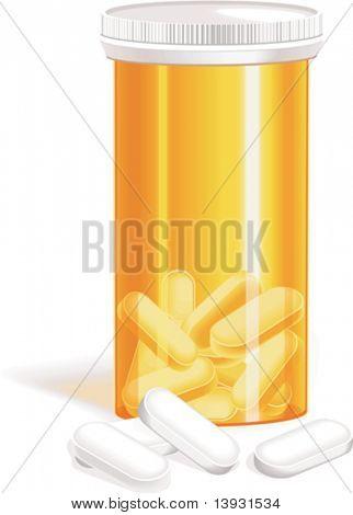 Vector bottle of pills