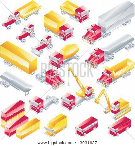 Vector trucks icon set