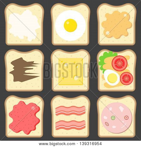 Vector sliced bread with bread spreads, flat design