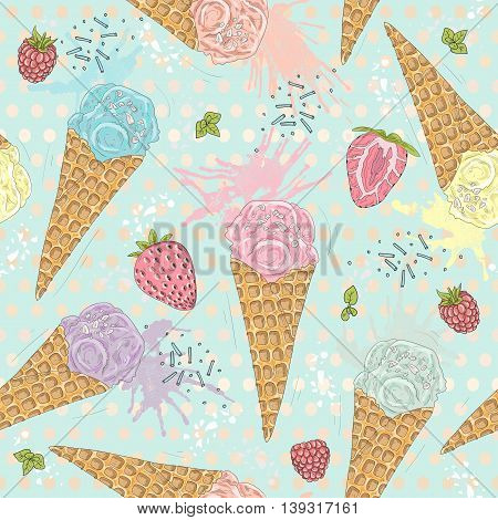 Cute seamless pattern with ice creams strawberries and raspberries. Vector background with sweets.