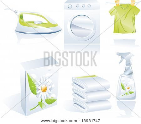 Raster version. Dry cleaner's icon set