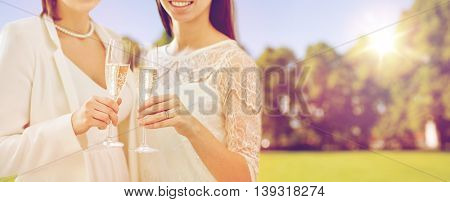 people, homosexuality, same-sex marriage, celebration and love concept - close up of happy married lesbian couple holding and clinking champagne glasses over natural outdoor background