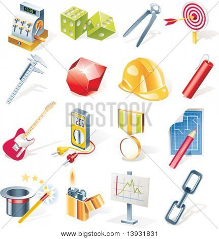 Vector objects icons set. Part 13