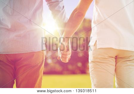 people, homosexuality, same-sex marriage, gay and love concept - close up of happy male gay couple holding hands from back over natural outdoor background