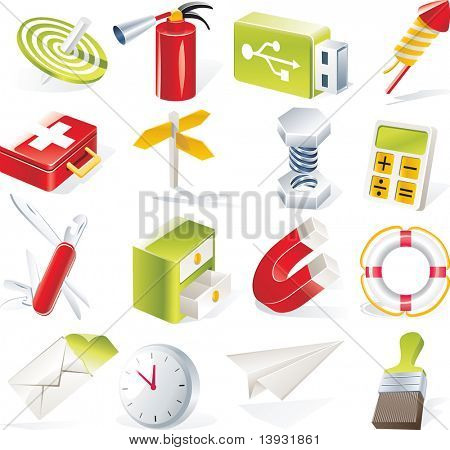 raster version of  objects icons set. Part 6