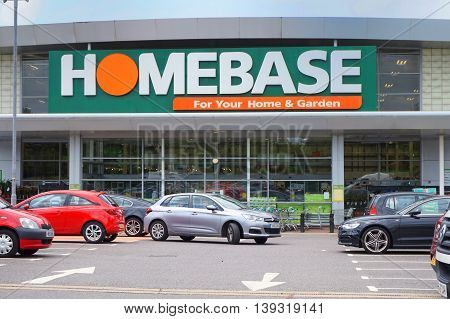 Basingstoke, Uk - July 20, 2016: Entrance And Car Park Of The Homebase Diy Home Improvement Store