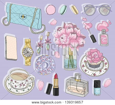 Fashion accessories set. Background with bag sunglasses jewelery makeup tea coffee and flowers. Vector fashion illustration.