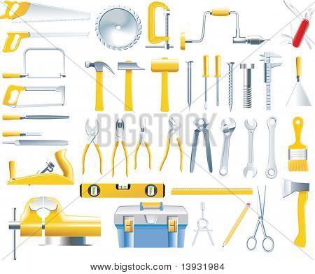 raster version of woodworker tools icon set