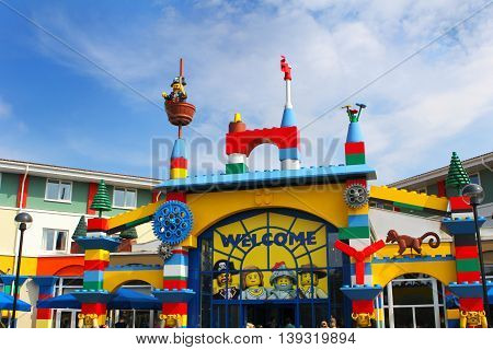 LEGOLAND WINDSOR UK - APRIL 30 2016: The colorful entrance to the Legoland Hotel