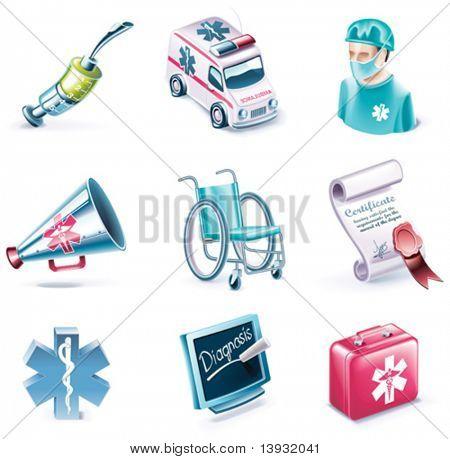 Vector cartoon style icon set. Part 26. Medicine