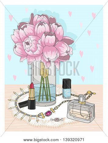 Fashion essentials. Background with jewellery perfume make up and flowers. Fashion accessories.