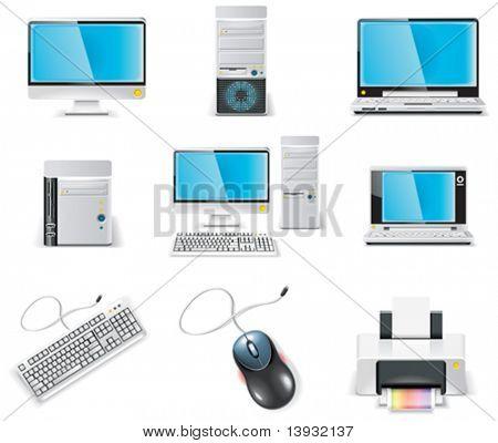 Vektor weiß Computer Icon Set. Teil 1. PC