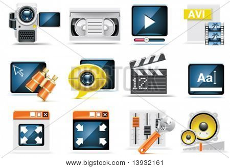 Vector video icon set