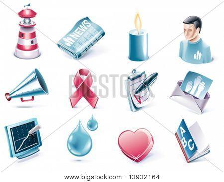 Vector cartoon style icon set. Part 38. Charity