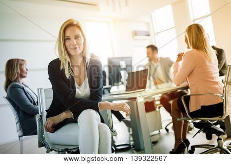 Board meeting at business company held in modern office