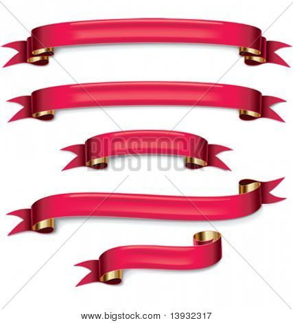 Vector red ribbons set