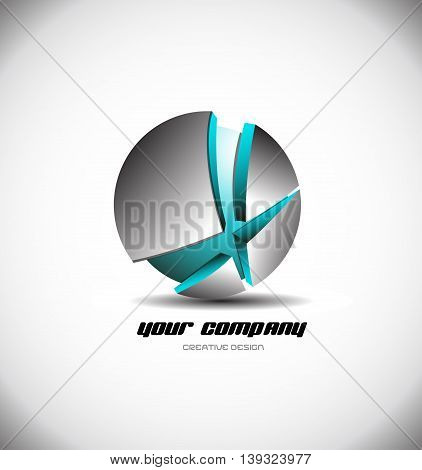 Vector company logo icon element template games media 3d sphere silver metal metallic blue corporate business