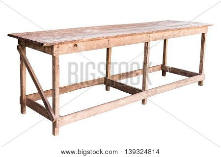 Old simplistic wooden table on white background work with path.