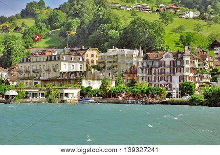 Weggis Switzerland - June 10 2010: Prestige hotels on the coast of Vierwaldstattersee lake.
