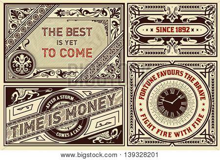 Old advertisements pack- Vintage illustration Layered