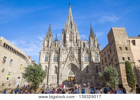 BARCELONA SPAIN - JULY 8 2016: Cathedral of the Holy Cross and Saint Eulalia patron saint of Barcelona in Catalonia Spain.