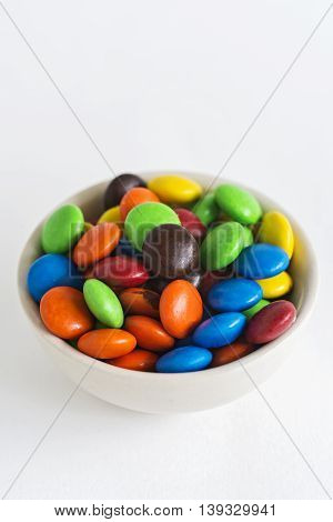Close Up of A Pile of Colorful Chocolate Coated Candy.