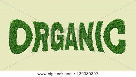 Ecology nature design. The word organic is made of grass. Environmental concept for advertisement, banners, cards . Illustration.