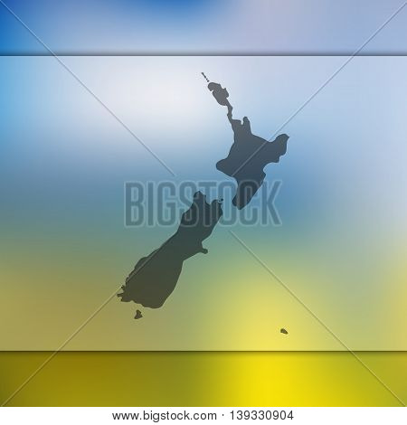 New Zealand map on blurred background. Blurred background with silhouette of New Zealand. New Zealand. New Zealand map.