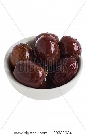 Sweet Dried Jujube or Monkey Apple Asian Fruit on White Background.