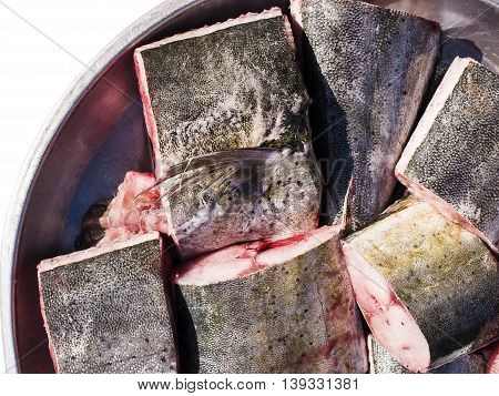 Fresh cobia fish fillet in the market.