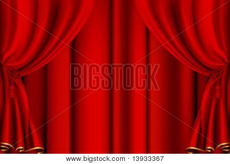 Red theater curtain, mesh