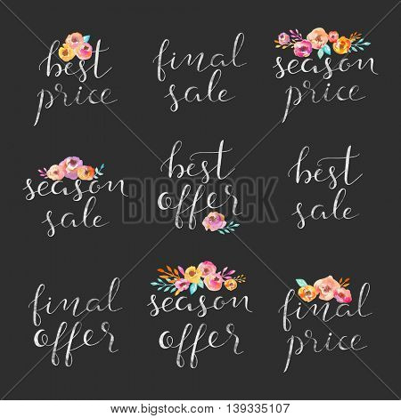 Hand drawn collection of labels and logos. Discount card set of Special Offer, Hot, Super, Big, Summer Sale.