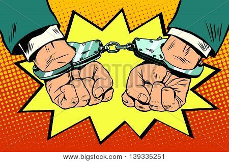 Arrest, hands cuffed pop art retro vector. Crime police criminal