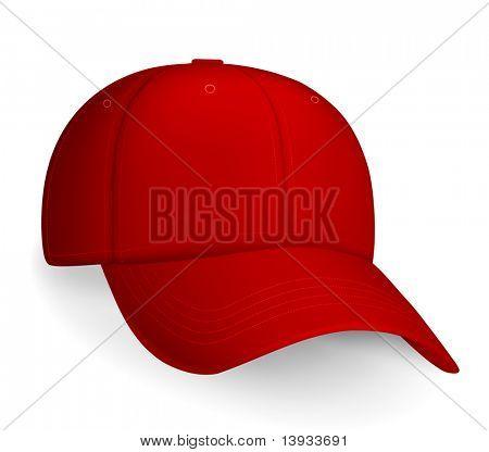 Red baseball cap, vector
