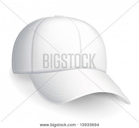 White baseball cap, vector poster